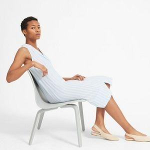Everlane Blue Stripe ButtonFront Linen Shirt Dress